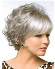 Women Popular Short Silver Gray Curly Hair Cosplay Heat Resistant Full Wig Wigs