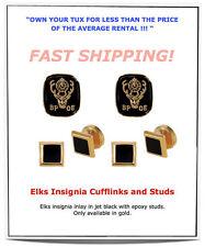 BLACK ELKS Insignia BPOE Gold Inlay Tuxedo Cufflinks Stud Set NEW #JWM103