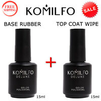 KOMILFO BASE Rubber 15ml. + TOP COAT WIPE 15ml. Gel LED/UV Nail Polish ORIGINAL