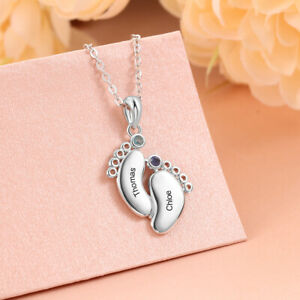 Personalized Silver Baby Feet Necklace Custom Name Birthstones Gift for Women