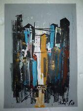 Fine City Landscape Painting, Listed Artist Shaul Ohaly, Gouache, 49.8 x 34.8 cm