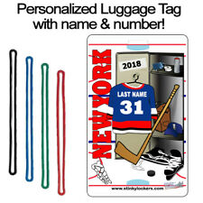 Personalized New York 2 Hockey Luggage Tag