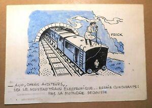 FRICK. Dessin humoristique. Train Electronique sans la moindre secousse ! (RC60)