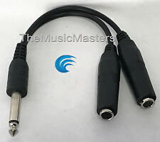 "6 inch 1/4"" Male Mono Plug to Dual 1/4"" Jacks (F) Premium Audio Cable Wire VWLTW"
