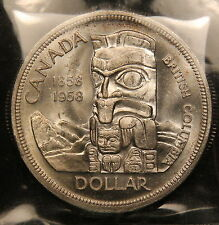 1958 Canada Silver Dollar ICCS MS-64 Near Gem BC Totem Pole commemorative