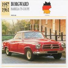 1957-1961 BORGWARD ISABELLA TS COUPE Classic Car Photograph / Info Maxi Card