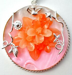 Large Pink & Orange Flower MOP Bird Pendant Mother of Pearl Floral Round 925 W