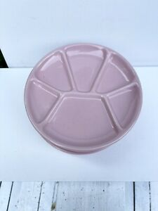 Set of 5 Williams Sonoma Pink Divided Plates Appetizer Sushi Fondue 6 Sections