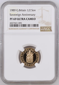 1989 Gold Proof HALF Sovereign Tudor Rose 500th NGC Graded PF69 FDC Ultra Cameo