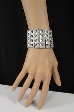 New Women Metallic Silver Elastic Metal Spikes Pyramid Bracelet Fashion Jewelry