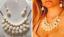 H&M Schmuckset Statementkette Collier + Ohrringe Perlen Beige Natur Weiß Nude