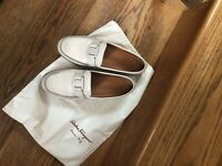 Beige Leather Loafers Shoes Salvatore Ferragamo Italy 8.5 C ! With Bag!