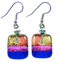DICHROIC Glass EARRINGS Pink Orange Gold Purple Squares Dangle Surgical 3/4""