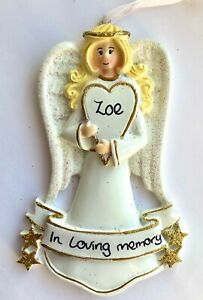 Personalised Memorial Remembrance Angel Christmas Tree Grave Side Decoration