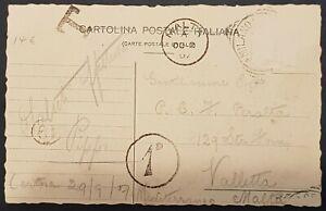 1907 Italy Milano - Malta postcard + Tax Cancel + PPH 19 + P.D. 1d Ref. PD-12