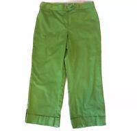 Ann Taylor Women's Size 2 Capri Green Pants Flat Front Cropped Stretch Cuffed
