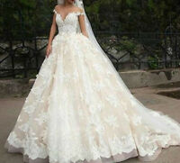 Champagne Lace Appliques Wedding Dress white/ivory Bridal Gown Custom plus size
