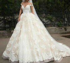 Champagne Lace Appliques Wedding Dress Off the Shou Bridal Gown Custom Plus Size