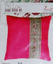 NEW ANCHOR  LUCA-S FLORAL BAND PINK PILLOW  COUNTED CROSS STITCH KIT