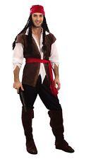 Caribbean Pirate Jack Sparrow Style Adult Fancy Dress Plus Size NEW M-XL