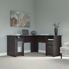 NEW Home Office Furniture L Shaped Desk Luxury Dark Brown Oak Corner 4 USB Port