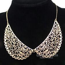Ornate Vintage Gold Filigree Peter Pan Collar Swirl Chain Choker Necklace Gift W