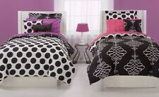BLACK TWIST Full COMFORTER SET : TEEN GIRLS COOL WHITE OPPOSITES REVERSIBLE BED