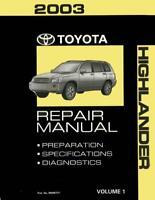 OEM Repair Maintenance Shop Manual Bound Toyota Highlander Volume 1 Of 2 2003