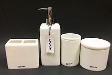 NEW 4 PC DKNY WHITE RESIN BATHROOM SOAP DISPENSER+TOOTHBRUSH HOLDER+TUMBLER+JAR