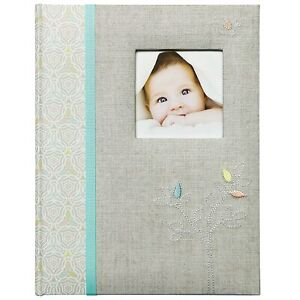 C.R. Gibson Grey 'Linen Tree' Bound First Five Years Memory Baby Book, Unisex