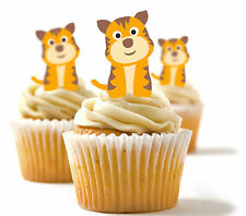 ✿ 24 Edible Rice Paper Cup Cake Topper, decorations - Tigers ✿