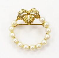14k Yellow Gold Pearl Stone Circle Pin Brooch ~ 2.6g