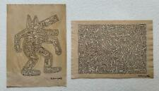 Lot of two Keith Haring drawing on paper signed & stamped hand carved