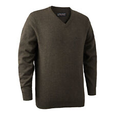 Deerhunter Brighton Knit V Neck Jumper Sweater Dark Elm Country Hunting Shooting
