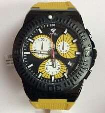 AQUA MASTER Men's Spider Yellow Rubber Chronograph WATCH W#339-114-7