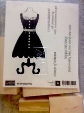 """All DRESSED UP"" Stampin'UP! NEW~wood mount-4pcs-Dress-Invites-Birthday-Congrats"