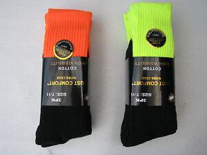 6 Pairs Yellow/Orange Thick Cotton Work Socks, Size 7-11