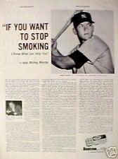 1960 Mickey Mantle New York Yankees MLB Baseball Bantron Stop Smoking Sports AD