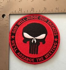 """""""GOD WILL JUDGE OUR ENEMIES"""" PUNISHER RED&BLACK MORALE PATCH"""
