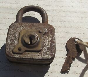 Vintage French padlock metal lock 1930's and key working order