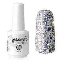 Elite99 Nail Art Soak Off Gel Polish UV LED Lamp 15ml Silver Glitter Shiny 1853