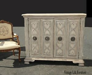 Tall French Country Hooker Furniture White Sideboard Console ~ Storage Cabinet