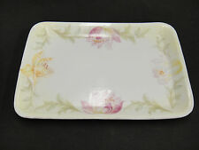 Antique Three Crown Small Rectangular Platter Plate Painted Flowers 7x10 Germany