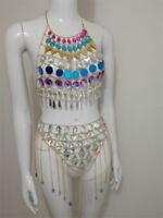 Colorful Sequins Crystal Halter Camisoles Bikini Bra Set Jewelry Body Chain 2018