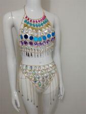 Sexy Sequins Crystal Halter Camisoles Halter Bikini Bra Set Jewelry Body Chain