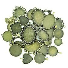 15pcs Mix  Antique Bronze Alloy Cameo Setting Cabochon Base Bezel Pendant Charms