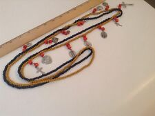 """Beautiful Two Strands Wooden Beads 24"""" Long Each. 13 Religious Medals"""