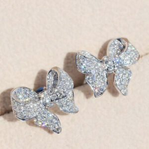 Gorgeous 925 Silver Stud Earrings White Sapphire Wedding Women Jewelry A Pair
