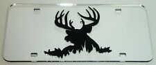 deerhead buck antlers hunt laser cut acrylic mirror license plate chrome rifle
