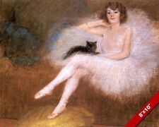 BEAUTIFUL BALLERINA DANCER PINK TUTU & CAT PAINTING MUSIC ART REAL CANVAS PRINT